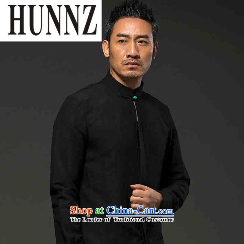 Hunnz Men long-sleeved natural linen leisure thin, Classical China wind relaxd shirt Solid Color Tang-pack Black燲XL