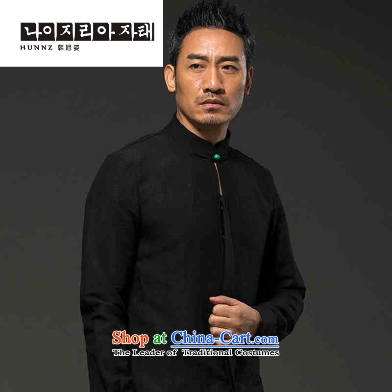The name of the male long-sleeved natural HANNIZI linen leisure, classic Chinese shirt low wind loose Solid Color Tang-pack Black?XXL