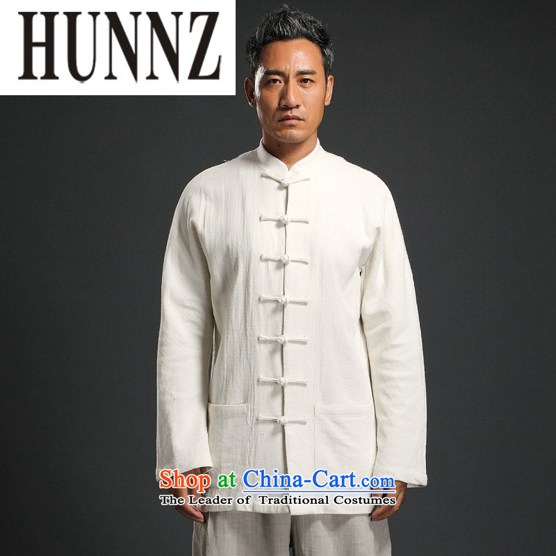 The disc deduction HUNNZ Han-China wind long-sleeved Tang dynasty men casual relaxd cotton linen shirt with white XXL Dad