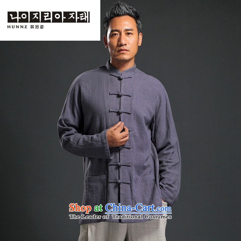 The name of the male disc deduction HANNIZI Han-China wind long-sleeved Tang dynasty men casual relaxd cotton linen shirt with father purple?XXL