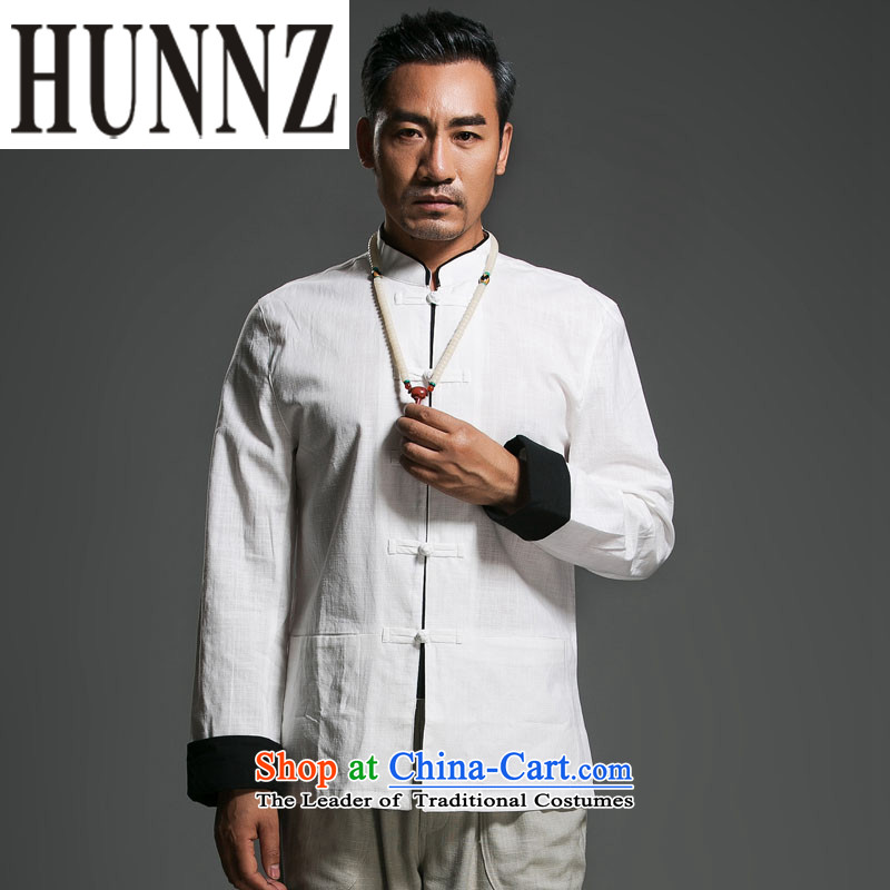 Hunnz New Products Linen minimalist Tang dynasty long-sleeved loose classic Chinese Wind men detained national wind jacket disc White聽185