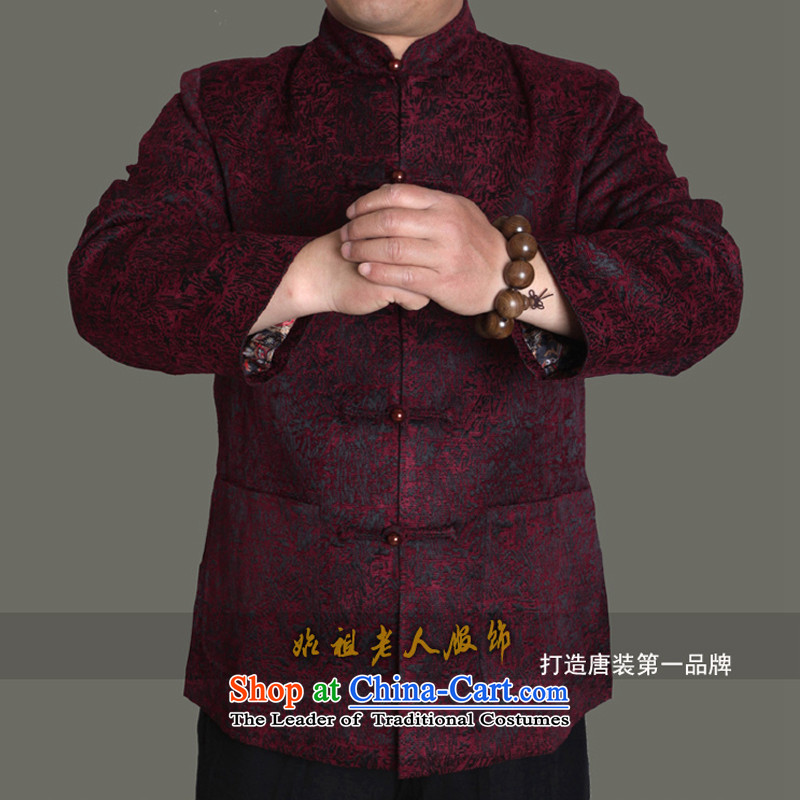 15 autumn and winter new upscale male Tang jackets of men in the national costumes of older autumn and winter good gift燭1369爓ine red this concept is too small. It is recommended to carry a number