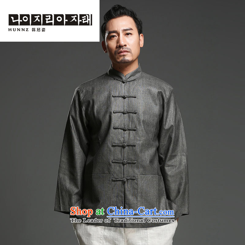 Name of HANNIZI China wind cotton linen men tray clip collar Tang dynasty retro men who are ethnic long sleeved shirt gray M
