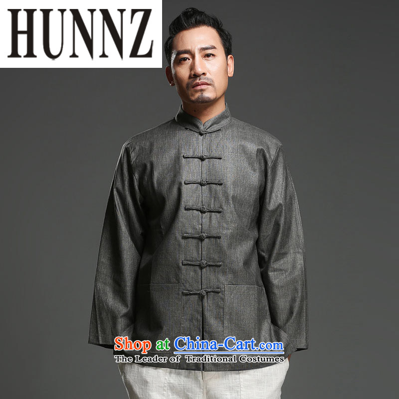 Hunnz China wind cotton linen men tray clip collar Tang dynasty retro men who are ethnic long sleeved shirt gray XXL