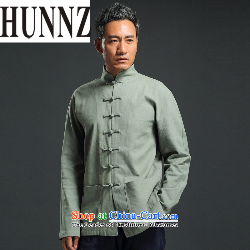 China wind retro HUNNZ Tang Dynasty Chinese collar up long-sleeved detained leisure minimalist national costumes men married Green�5