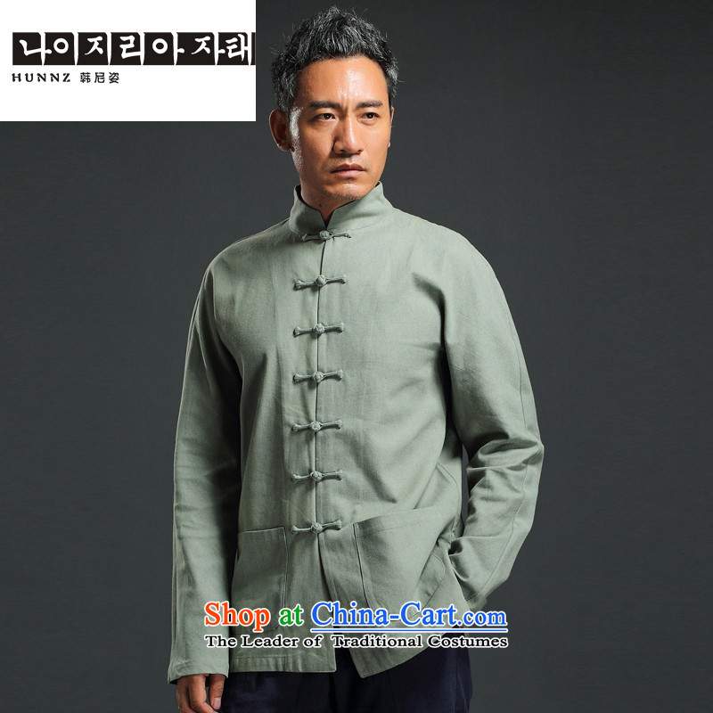 Name of China wind retro HANNIZI Tang Dynasty Chinese collar up long-sleeved detained leisure minimalist national costumes men married Green�0