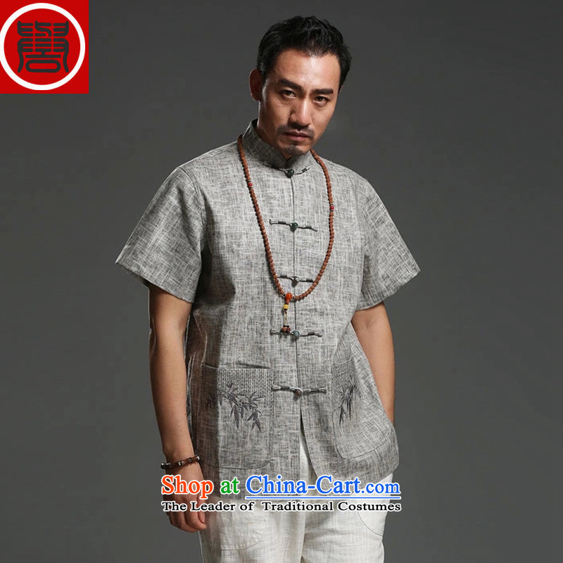 Renowned Hua Xia Men serving 2015 cotton linen short-sleeved T-shirt China wind Chinese half sleeve embroidery China wind men t-shirt gray燲XL