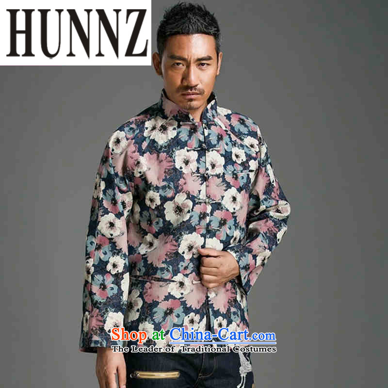 Trendy Stamp   HUNNZ long-sleeved China wind collar disc detained Tang Dynasty Chinese men's jackets abounds improved聽L