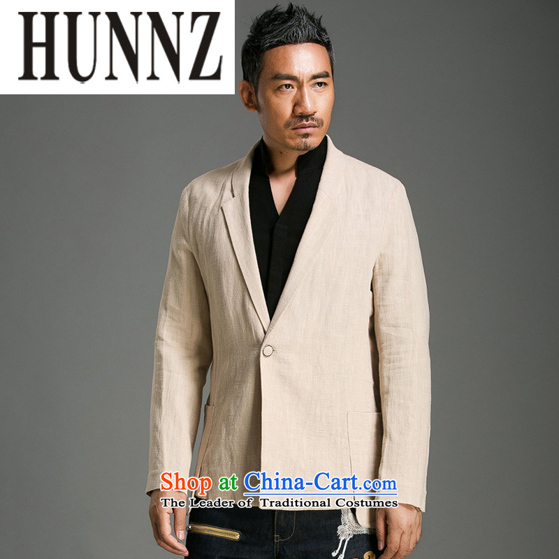 Hunnz natural cotton linen china Wind Jacket Classical Chinese improvements Sau San Tong replacing men leisure suit pure color long-sleeved light yellow燲L