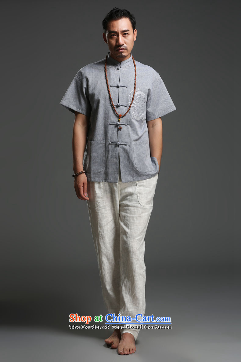 Renowned Chinese spring and summer clothing linen Men's Mock-Neck Shirt loose cotton linen Tang dynasty male short-sleeved men on thin, leisure m Yellow聽XL Photo, prices, brand platters! The elections are supplied in the national character of distribution, so action, buy now enjoy more preferential! As soon as possible.