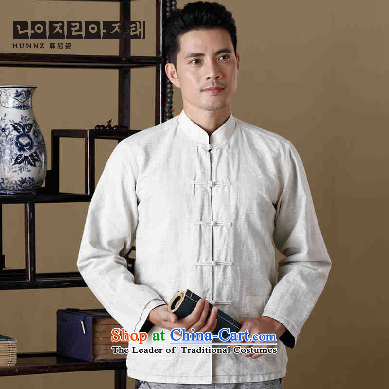 Name of new natural linen HANNIZI Men long-sleeve sweater Tang Dynasty Chinese collar double-sided wear uniforms shishu gas hermit men white and blue?170