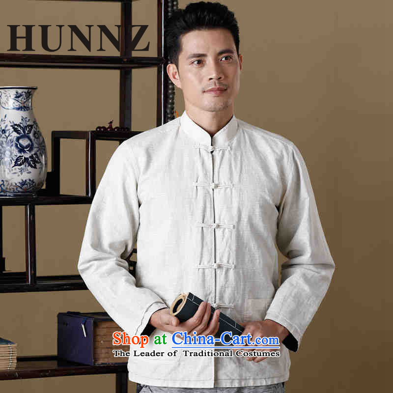 New Natural Linen HUNNZ Men long-sleeve sweater Tang Dynasty Chinese collar double-sided wear uniforms shishu gas hermit men white and blue�5