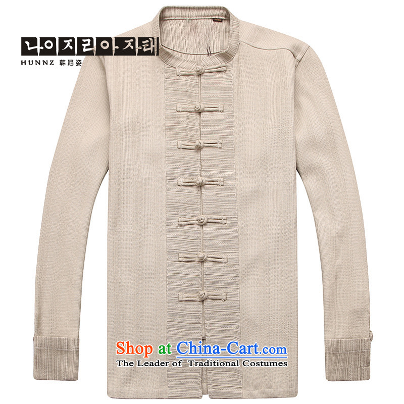 Name of the new Chinese Wind HANNIZI men linen Tang dynasty Classic minimalist zen long-sleeved clothing pure color is detained retro men apricot color聽185