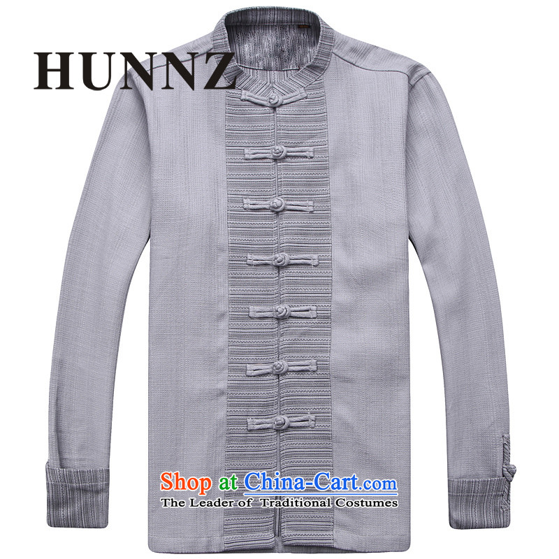Hunnz New Products China wind men linen Tang dynasty Classic minimalist zen long-sleeved clothing pure color is detained retro men light gray聽165
