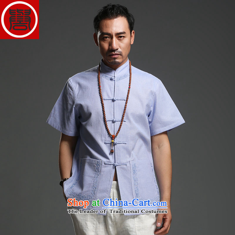 Renowned Chinese Services 2015 Spring_Summer of leisure linen men short-sleeved leisure male thin cotton linen_ installed on the Tang dynasty white men casual燲XL