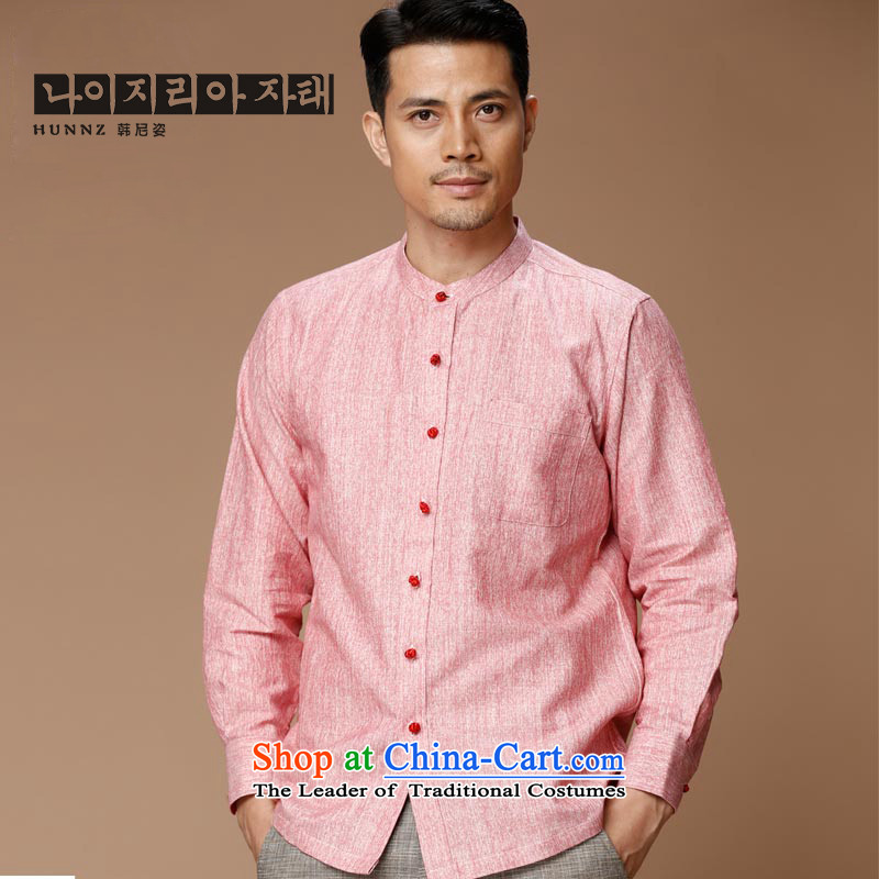 Name of the new Chinese Wind HANNIZI linen men Tang dynasty retro long-sleeved shirt collar men's jackets classic ball-services rose�0