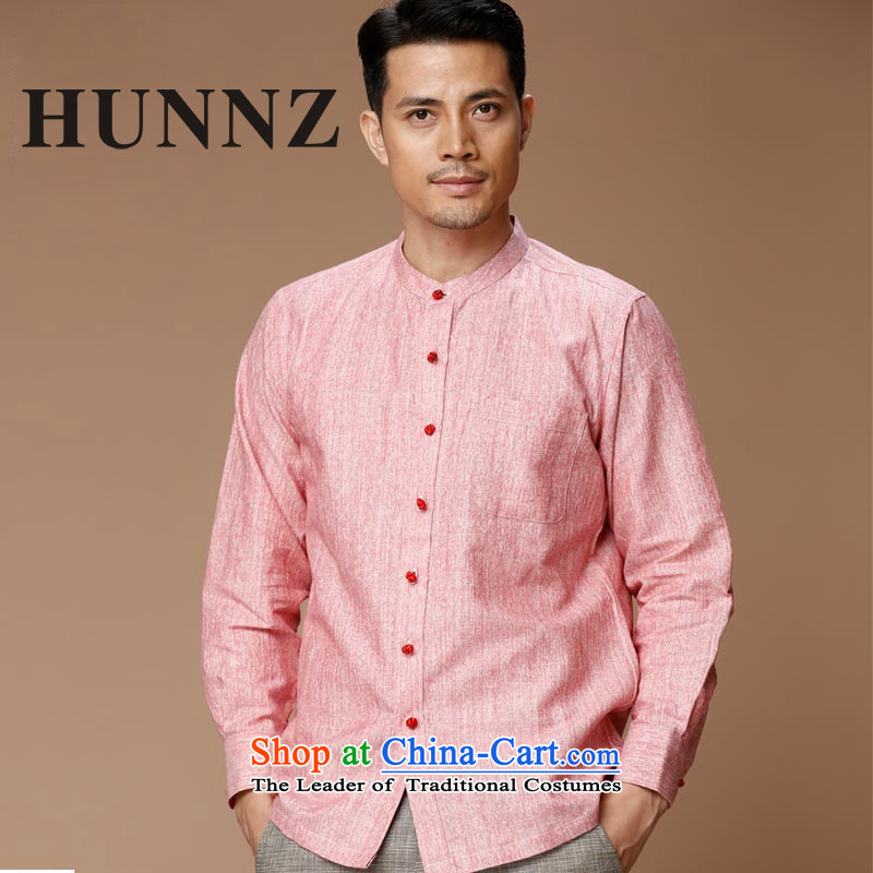 Hunnz New Products Linen China wind men Tang dynasty retro long-sleeved shirt collar men's jackets classic ball-services rose 180