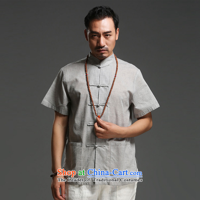 Renowned Chinese Service Men's Mock-Neck Tang dynasty men casual cotton linen short-sleeved men pure color Tang dynasty breathable T-shirt for summer new gray�L