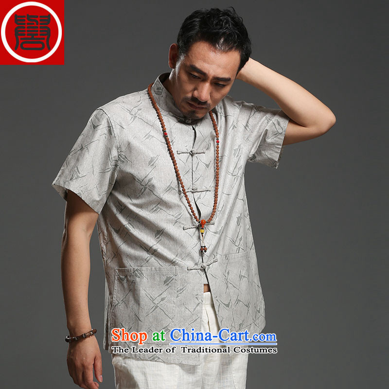 Renowned Chinese service men Tang dynasty cotton linen collar short-sleeved shirt stamp loose China wind and trendy Chinese men light gray?XXL