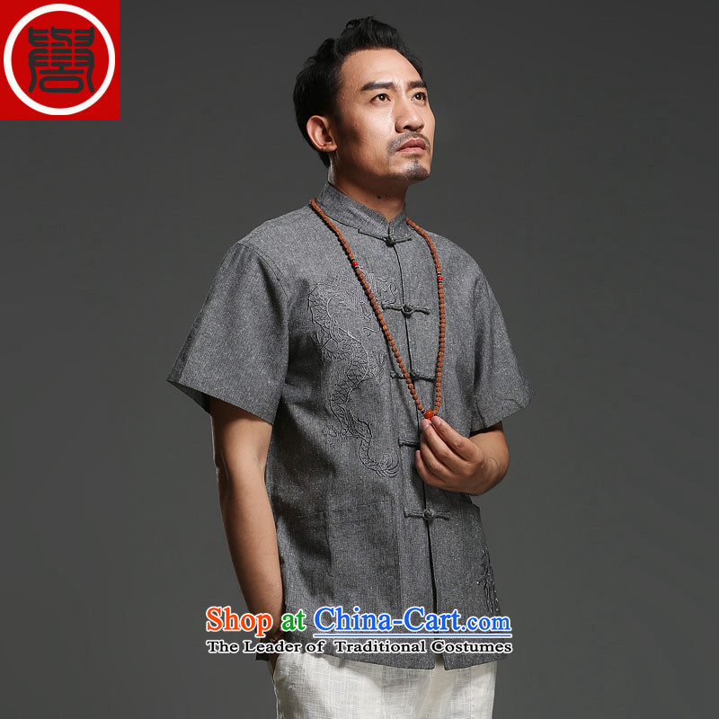 Renowned Chinese Tang dynasty service men short-sleeved cotton linen 2014 new dragon design Tang dynasty summer breathable T-shirt, dark gray?XXXL national costumes