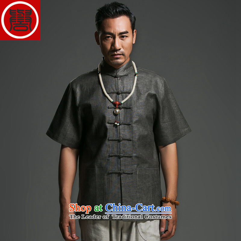 Renowned Chinese Services China wind and flax Chinese Disc collar detained men in his shirt-sleeves Retro classic Zen Sau San Tong replacing deep聽XXXL