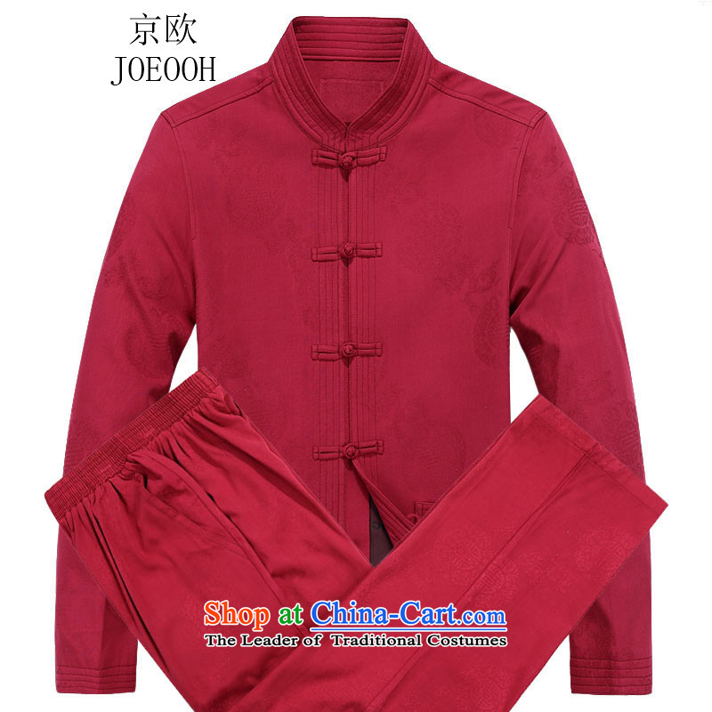 Beijing Europe China wind Tang dynasty?2015 autumn and winter New Man Fu Shou Tang long-sleeved jacket kit Red Kit?90