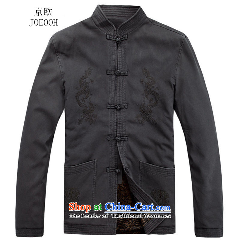 Beijing New Autumn Europe men Tang long-sleeved jacket thick sand washing cotton Ssangyong Tang dynasty聽L_175 Dark Gray