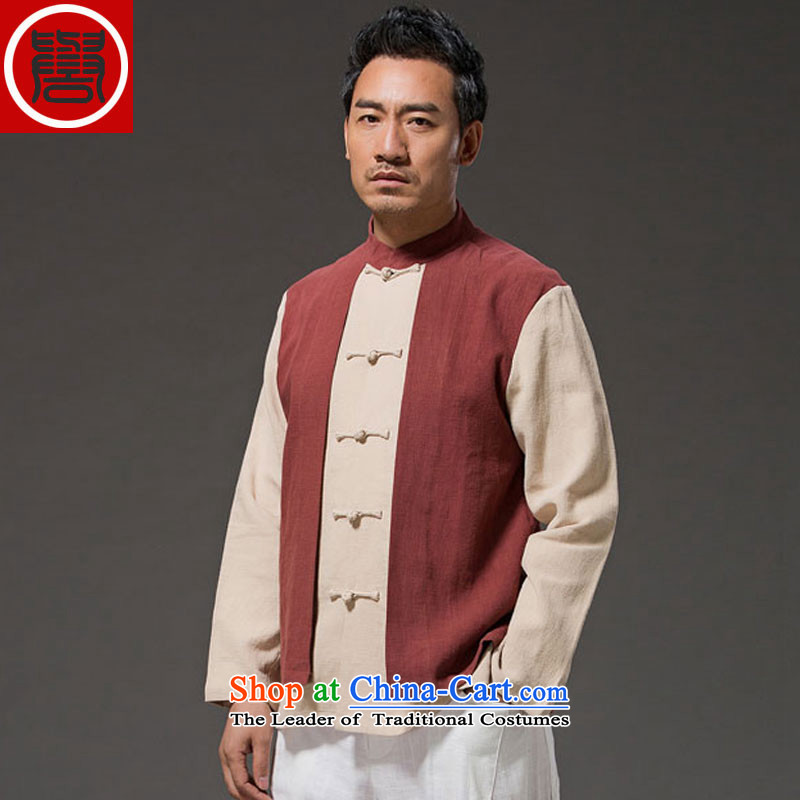 Renowned Chinese serving original China wind leave two Sau San Men long-sleeved shirt with flax spell color autumn tray clip mock燲XXL red