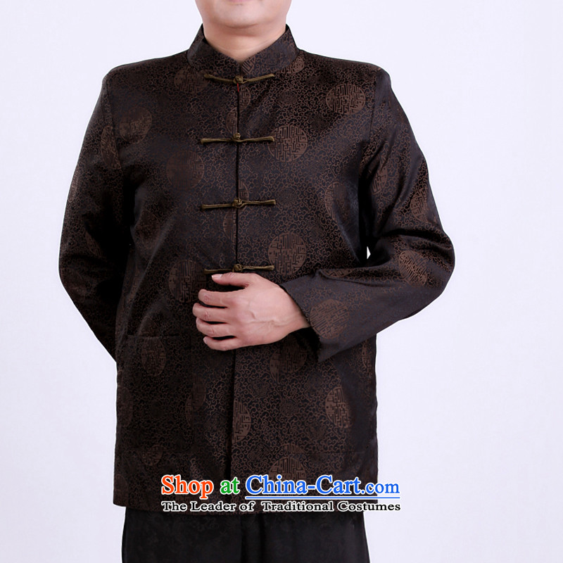 Large urges autumn and winter factory new Tang dynasty in Tang Dynasty elderly men father boxed Chinese men's jackets�180/ brown spring and autumn, 131132