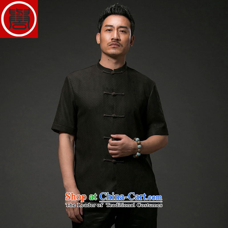 Renowned Chinese Services China wind men Summer Scent of silk yarn in the cloud of older men Tang dynasty Short-sleeve men casual Tang-black national聽4XL