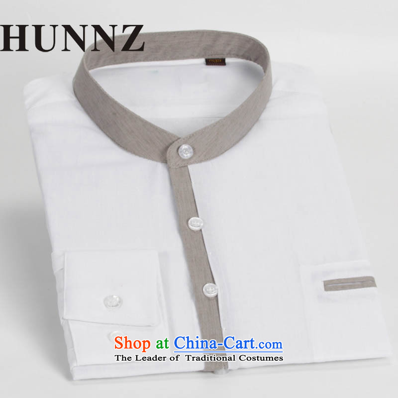 China wind HUNNZ Sau San Tong load minimalist men round-neck collar cotton linen long-sleeved shirt Chinese leisure shirt Chinese tunic male White 185