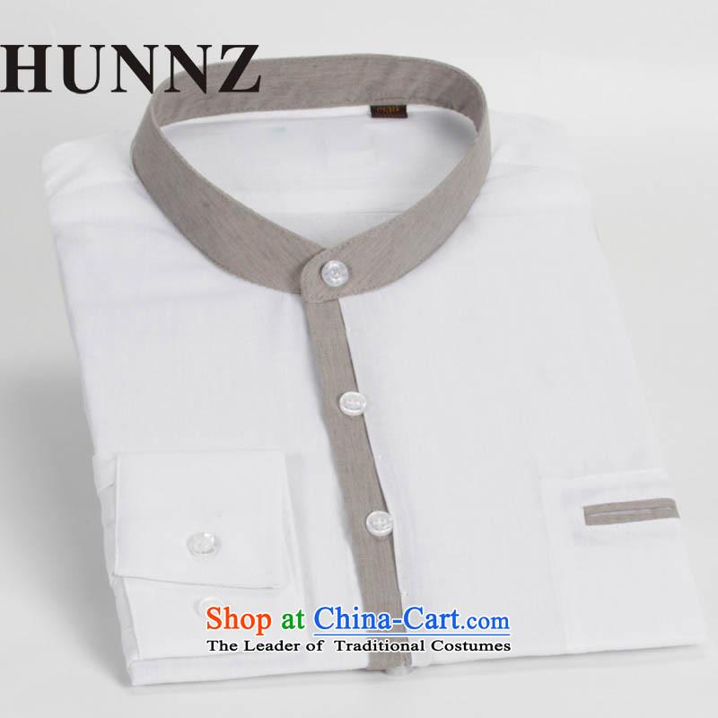 China wind HUNNZ Sau San Tong load minimalist men round-neck collar cotton linen long-sleeved shirt Chinese leisure shirt Chinese tunic male white聽185,HUNNZ,,, shopping on the Internet