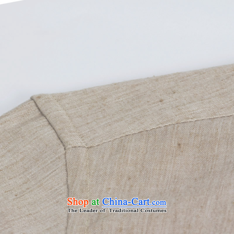China wind Sau San Tong minimalist replacing men round-neck collar cotton linen long-sleeved shirt Chinese leisure shirt Chinese tunic and light gray165, each option has been pressed shopping on the Internet
