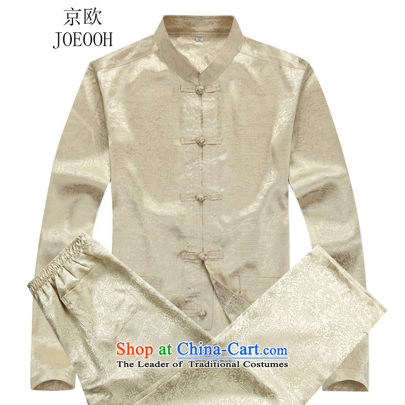 Beijing New Autumn Europe Tang dynasty male Kit Han-long-sleeved China wind manually. Older Chinese Disc men beige kit?XXL