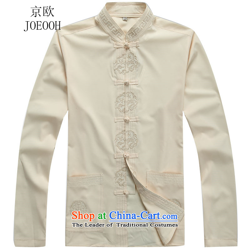 Beijing Europe China wind Tang Dynasty Men long-sleeved Han-packaged with older replacing kung fu father replacing beige jacket聽L