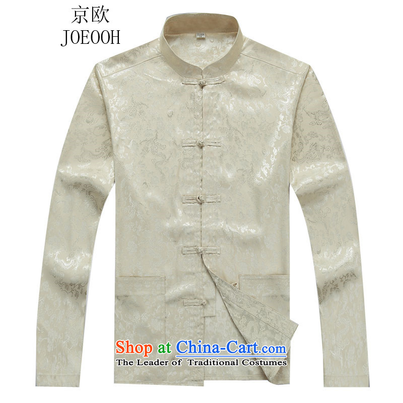 Beijing OSCE autumn and winter men long-sleeved Tang Dynasty Package for men and elderly jacket kit installed dad relax beige jacket燤