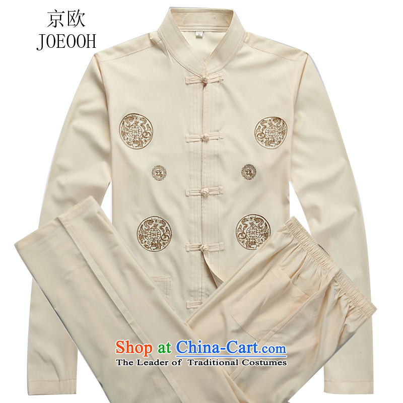 Beijing New OSCE Tang dynasty and the fall in the older Chinese collar long-sleeved kit beige kit燲L