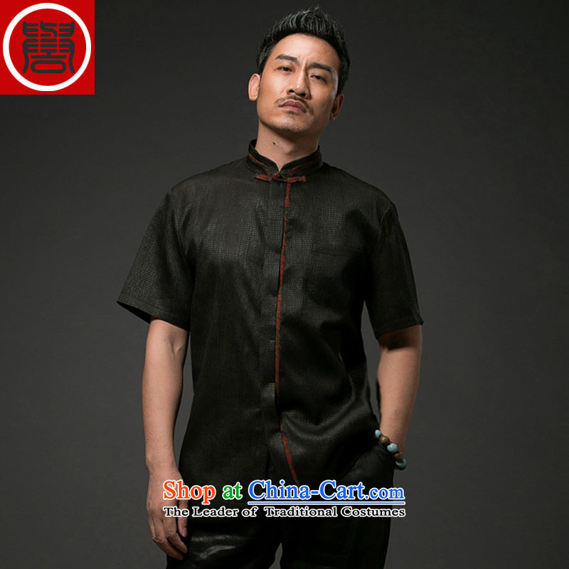 Renowned Chinese Tang dynasty service men Heung-cloud yarn silk short-sleeved China wind men Chinese shirt herbs extract Men's Shirt Black燲L