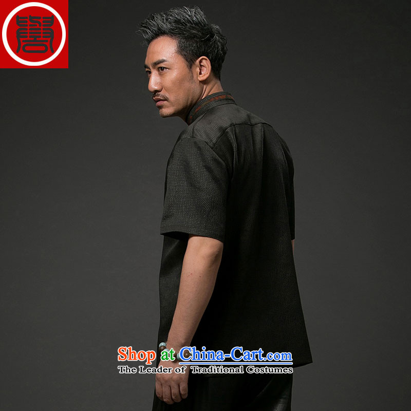 Renowned Chinese Tang dynasty service men Heung-cloud yarn silk short-sleeved China wind men Chinese shirt herbs extract Men's Shirt Black聽XL, renowned (chiyu) , , , shopping on the Internet