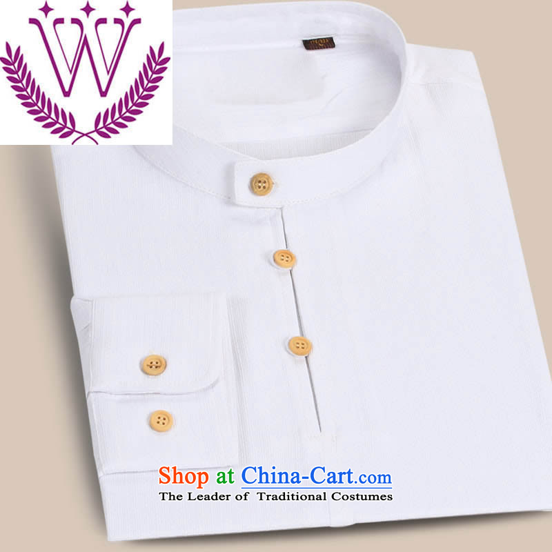 New products of traditional Chinese Wind cotton linen men Tang Dynasty Chinese long-sleeved T-shirt, Han-thin male cheongsams ball Services White�0