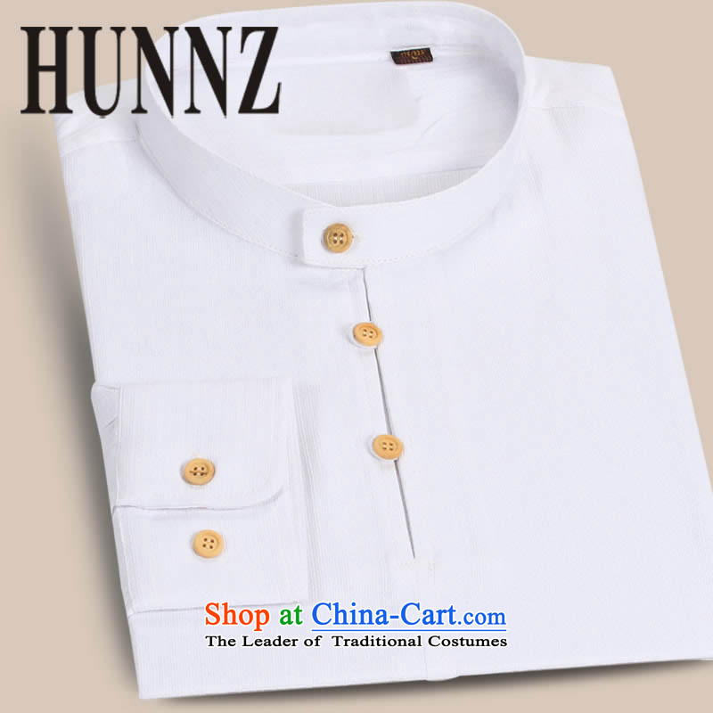 New products of traditional Chinese HUNNZ wind cotton linen men Tang Dynasty Chinese long-sleeved T-shirt, Han-thin male cheongsams ball Services White聽175