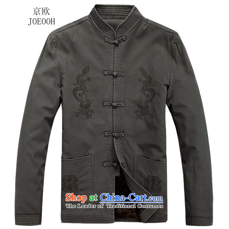 Beijing New Autumn Europe men Tang jackets long-sleeved shirt collar China Wind Light Gray燤_170