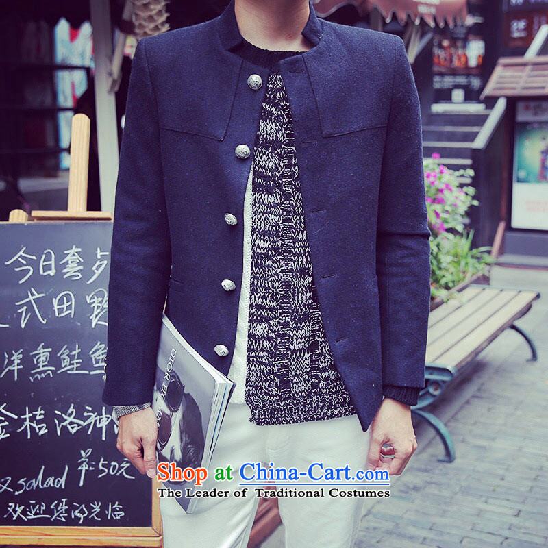 Dan James new short, collar single row detained? metal clip hair that suit Chinese tunic male and deep blue L