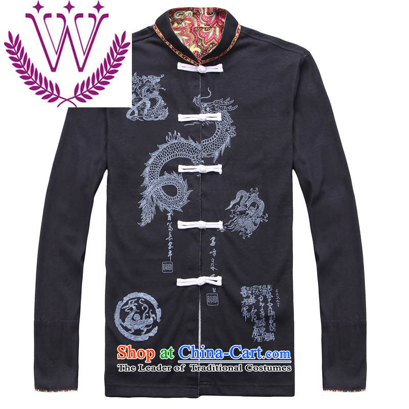 New China wind men cotton linen Tang Dynasty Chinese classical embroidery Han-retro style long-sleeved sweater male Black聽180