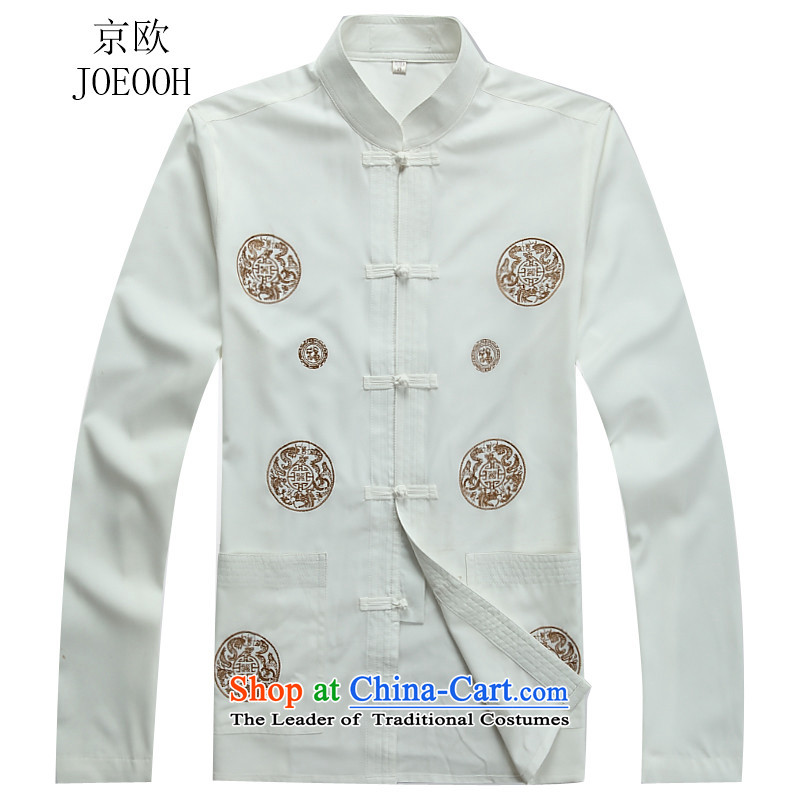 Beijing europe fall on Tang dynasty male long-sleeved Tang Dynasty National wind up the clip Tang blouses white shirt燲XL