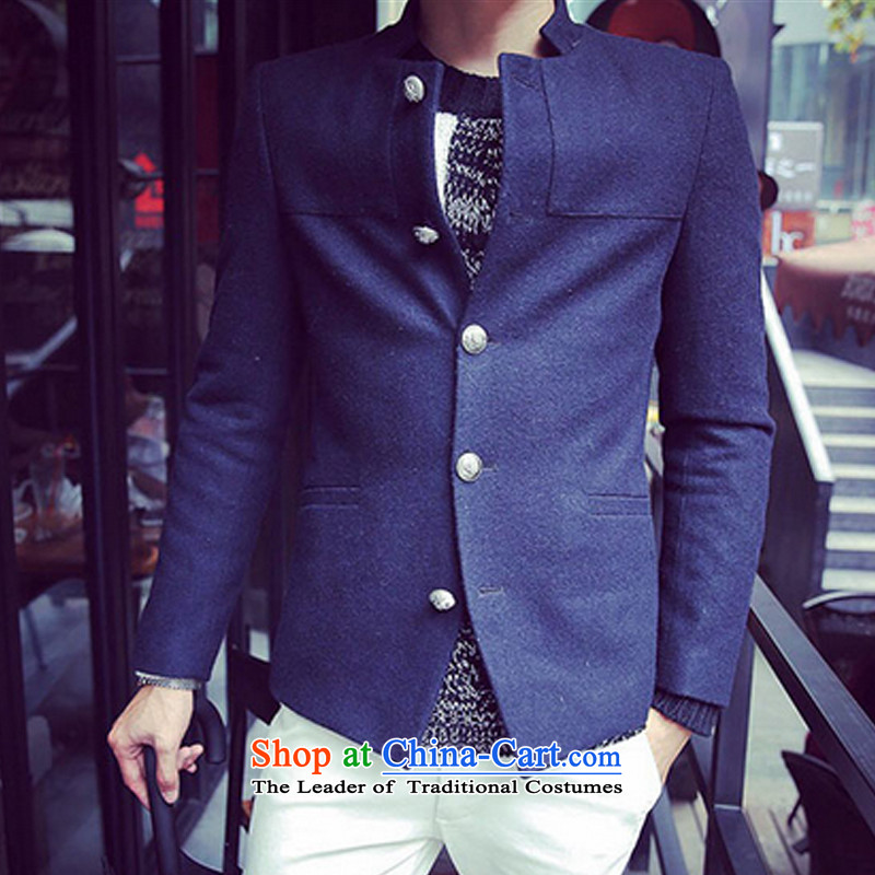 Dan James New Fall/Winter Collections short, collar suit metal clip hair? Chinese tunic male and deep blue?L