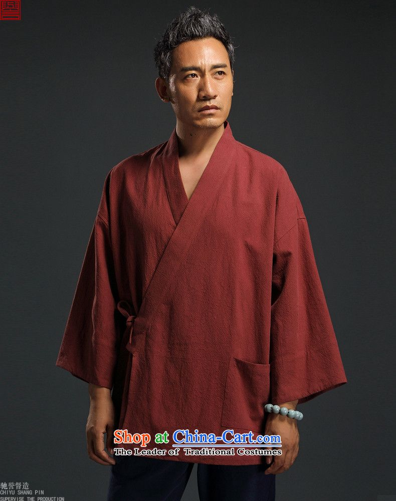 Renowned Chinese clothing Autumn Chinese Wind linen men retro Han-to fulfill his breast cardigan leisure Tang dynasty men t-shirt tea service gray聽XXL picture, prices, brand platters! The elections are supplied in the national character of distribution, so action, buy now enjoy more preferential! As soon as possible.