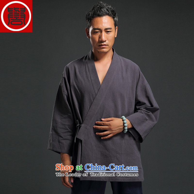 Renowned Chinese clothing Autumn Chinese Wind linen men retro Han-to fulfill his breast cardigan leisure Tang dynasty men t-shirt tea service gray燲XL