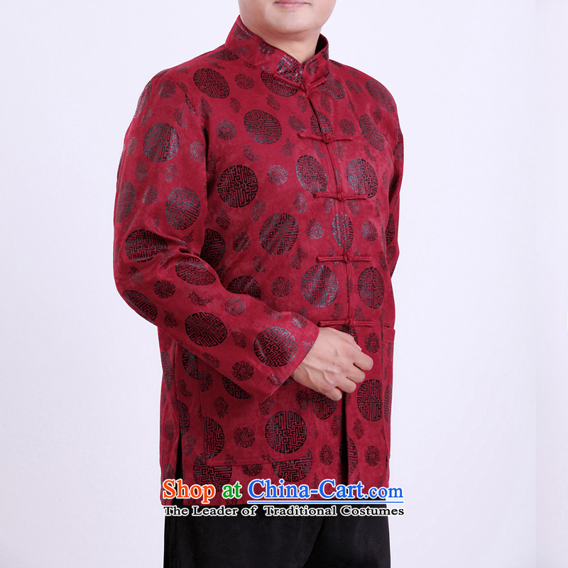 Mr Rafael Hui Kai new Timor Man Tang dynasty autumn and winter coats and long-sleeved in Tang Dynasty older men Tang blouses 13,142 Red 165/ winter folder cotton