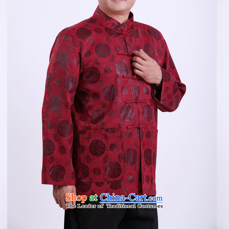 Mr Rafael Hui Kai new Timor Man Tang dynasty autumn and winter coats and long-sleeved in Tang Dynasty older men Tang blouses 13,142 Red165/ Winter, The Sze cotton folder Kai , , , shopping on the Internet